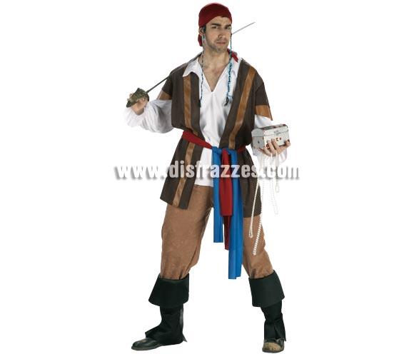 Disfraz de Pirata Corsario del Caribe para hombre. Talla Standar. Incluye chaleco, pantalón, camisa, cubrebotas, pañuelo y fajín.