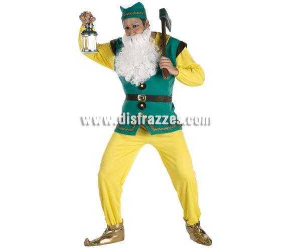 Disfraz de Enanito para hombre. Talla Standar. Incluye pantalón, chaqueta, cinturón, gorro y babuchas. Perfecto para disfrazarse junto a Blancanieves y también para Navidad como Duende de Papa Noel.
