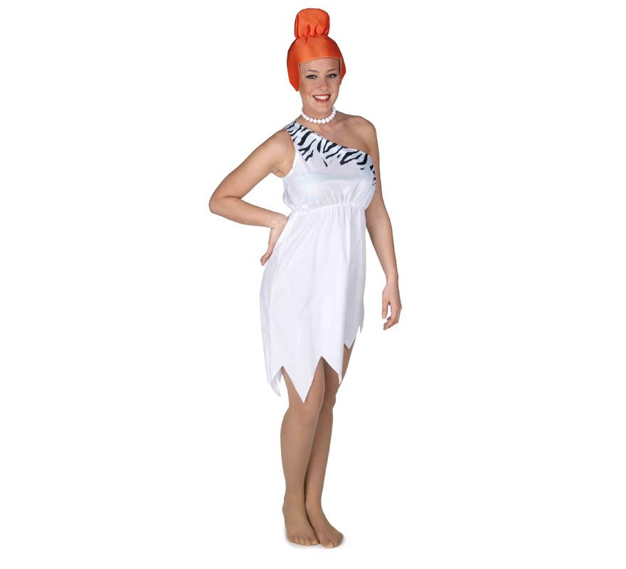 Disfraz de Cavernícola para mujer. Talla Standar de mujer. Incluye vestido y gorro. Collar NO incluido, podrás verlo en la sección de Complementos. Ideal para imitar a Wilma Picapiedra.