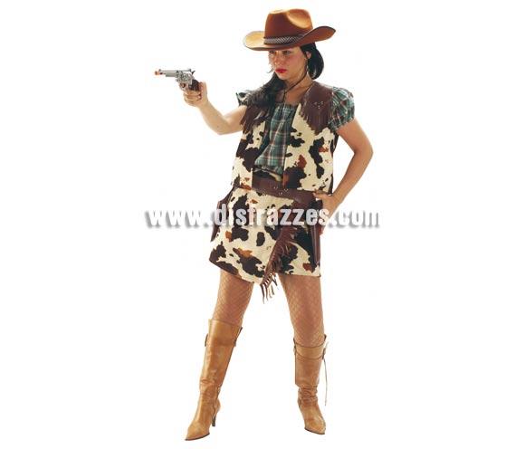 Disfraz de Vaquera o Pistolera corta para mujer. Talla Standar. Incluye falda, camisa, chaleco y cartucheras. Pistola y sombrero NO icluidos, podrás verlos en la sección de Complementos.