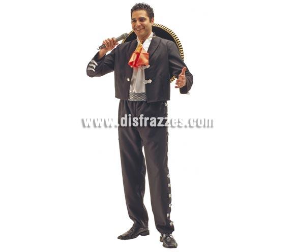 Disfraz de Mariachi Mejicano para hombre. Talla Standar. Incluye chaqueta, pantalón, camisa, cinturón y pañuelo. El sombrero y el micrófono lo podrás ver en la sección de Complementos.