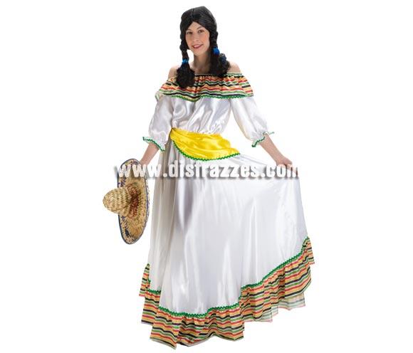 Disfraz de Mejicana lujo para mujer. Talla Standar. Incluye vestido y fajín. Sombrero o gorro NO incluido, podrás verlo en la sección de Complementos.