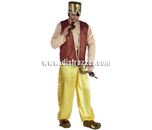 Disfraz de Encantador de serpientes para hombre. Talla Standar. Incluye pantalón con serpiente, chaleco, cuerpo (camisa), gorro y flauta. Babuchas NO incluidas, podrás verlas en la sección de Complementos.