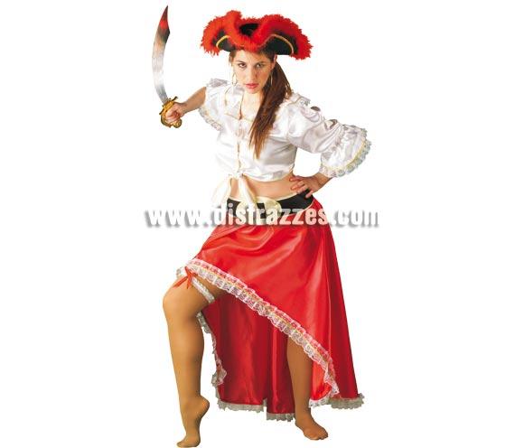 Disfraz de Pirata roja sexy para mujer. Talla Standar. Incluye camisa, falda, cinturón y liga. Espada NO incluida, podrás verla en la sección de Complementos.
