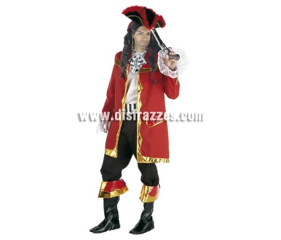 Disfraz de Pirata lujo para hombre. Talla Standar. Incluye casaca, pantalón, camisa, fajín, cubrebotas y pañuelo. Pistola NO incluida, podrás verla en la sección de Complementos - Armas.