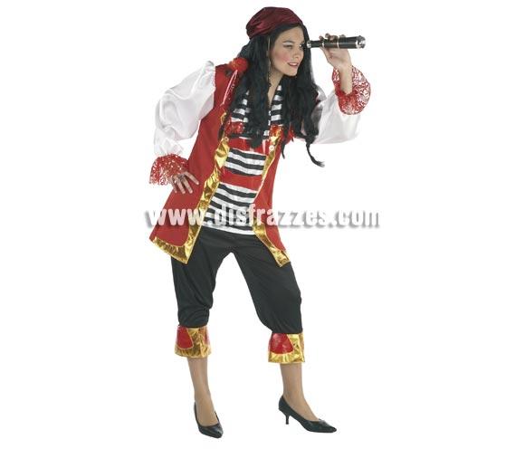 Disfraz de Pirata lujo para mujer. Talla Standar. Incluye casaca y pantalón. Catalejo NO incluido, podrás verlo en la sección de Complementos.