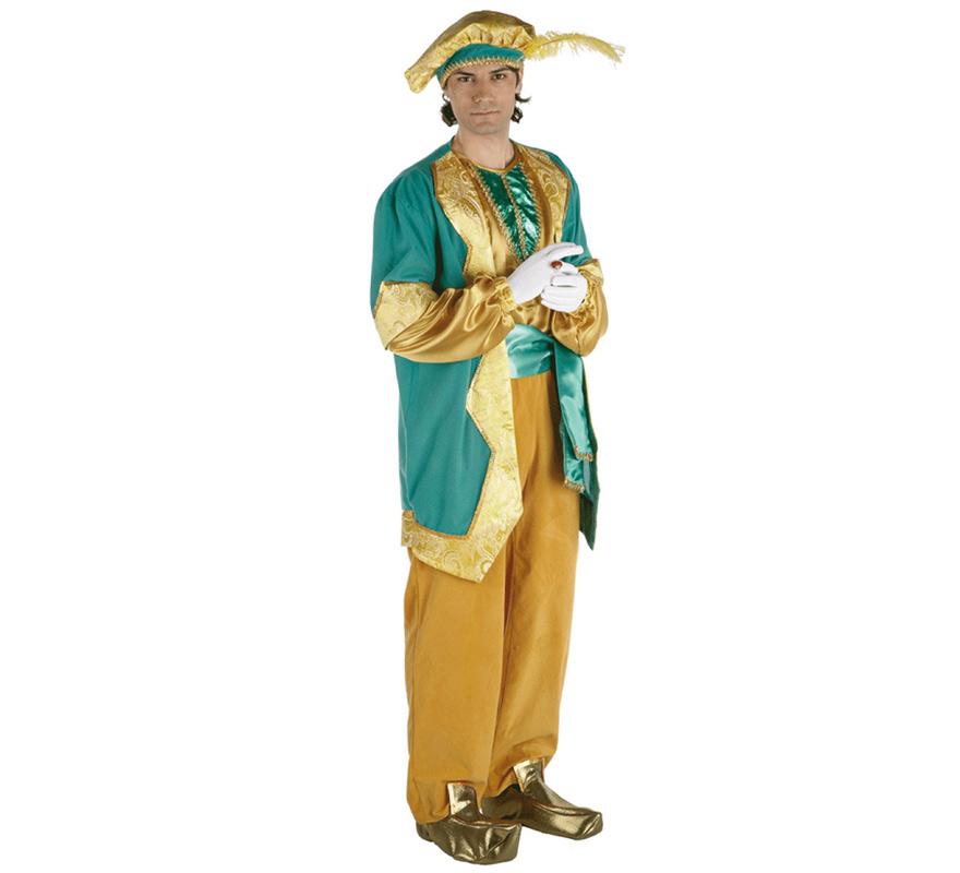 Disfraz de Paje del Rey Melchor lujo adulto. Talla única de hombre. Contiene pantalón, camisa, chaleco, cinturón, gorra y babuchas. Complementos como guentes NO incluidos, podrás verlos en la sección Complementos.