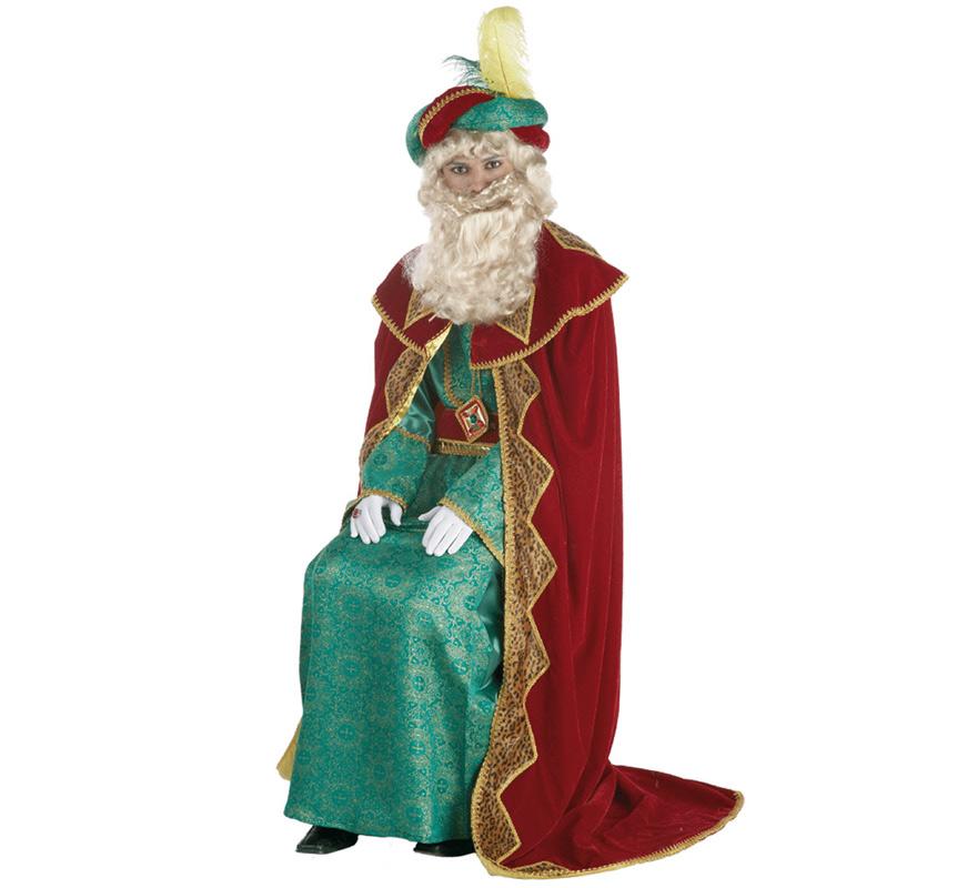 Traje o disfraz de Rey Mago Gaspar lujo adulto. Talla única de hombre. Contiene túnica, capa, cinturón y turbante. Complementos NO incluidos, podrás verlos en la sección de Complementos.