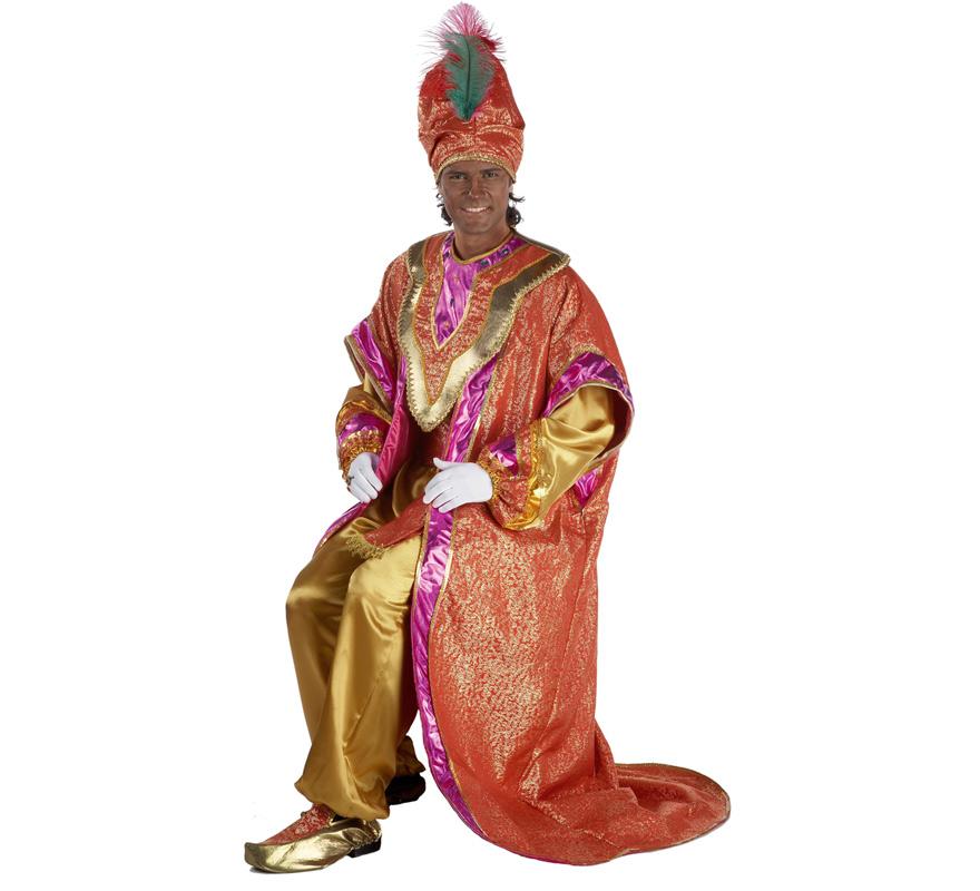 Traje o disfraz de Rey Mago Baltasar lujo adulto. Talla única de hombre. Contiene pantalón, camisa, capa, cinturón, gorro y babuchas. Complementos NO incluidos, podrás verlos en la sección de Complementos.