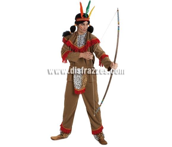 Disfraz de Indio adulto para chico. Talla Standar. Incluye pantalón, casaca, delantal y cinta de la cabeza. Arco NO incluido, podrás verlo en la sección de Complementos con la ref. 16627GUI.