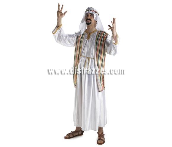Disfraz de Jeque Árabe para hombre. Talla Standar. Incluye túnica, chaleco, cinturón, tocado y cinta
