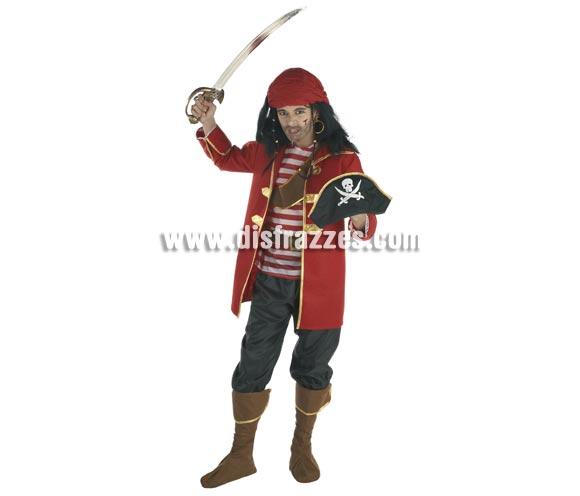 Disfraz de Pirata Corsario para niños de 8 a 10 años. Incluye pantalón, chaqueta, camisa, cinturón, cubrebotas y gorro. Espada NO incluida, podrás verla en la sección de Complementos - Armas.