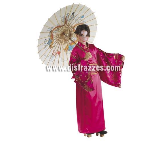 Disfraz de Geisha Rosa para niñas de 8 a 10 años. Incluye vestido y cinturón. Sombrilla NO incluida, podrás verla en la sección de Complementos.