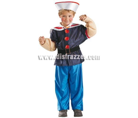 Disfraz de Popeye el Marino para niños de 8 a 10 años. Incluye pantalón, chaqueta, cinturón y gorro.