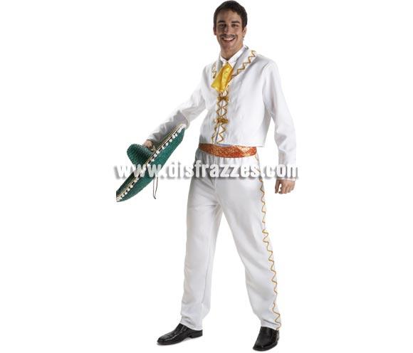 Disfraz de Mejicano lujo para hombre. Talla Standar. Incluye chaqueta, pantalón, camisa, cinturón y pañuelo. Sombrero NO incluido, podrás verlo en la sección de Complementos. También sirve como disfraz de Mariachi para chicos.