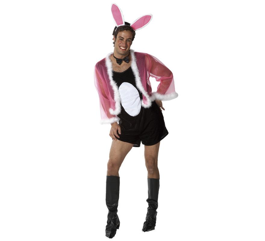 Disfraz de Conejita sexy para hombre. Talla Standar de hombre. Incluye mono, chaqueta, pajarita, cubrebotas y orejitas. Perfecto para Despedidas de Soltero.