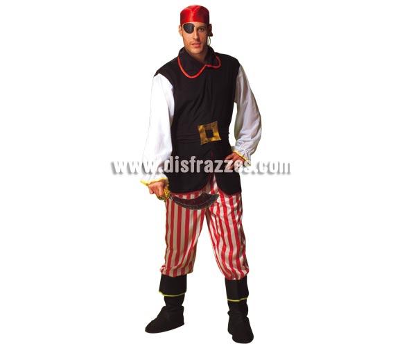 Disfraz de Pirata para hombre. Talla Standar. Incluye casaca, cinturón, pantalón, cubrebotas y pañuelo. Espada NO incluida, podrás verla en la sección de Complementos.