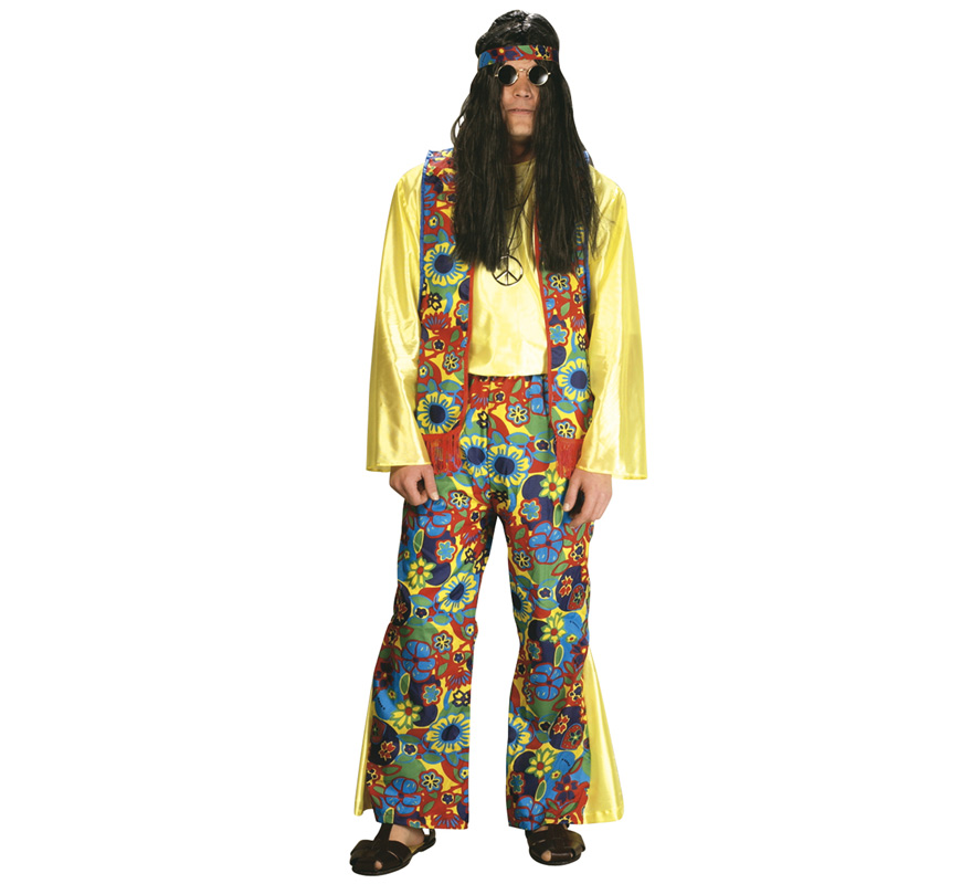 Disfraz de Hippie para hombre. Talla Standar. Incluye cinta para la cabeza, camisa, chaleco y pantalón de campana. Gafas y pandereta NO incluidas, podrás ver en la sección de Complementos.