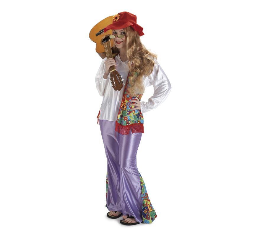 Disfraz de Hippie para mujer. Talla Standar. Incluye sombrero, camisa, chaleco y pantalón de campana. Gafas y guitarra NO incluidas, podrás ver en la sección de Complementos.