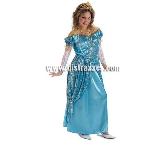 Disfraz de Princesa Azul para mujer. Talla Standar. Incluye vestido y guantes. Resto de accesorios NO incluidos, podrás verlos en Complementos.