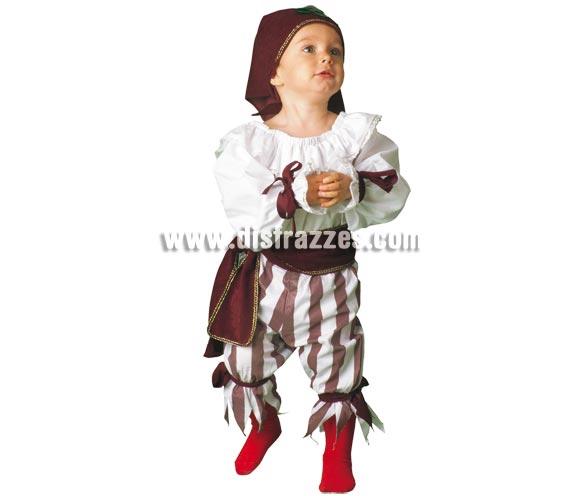Disfraz de Bebé Pirata para niñas de 1 a 3 años. Incluye pantalón, camisa, cinturón y pañuelo. Los pantalones son a rayas de color negro y blanco, en la foto se ve marrón pero las rayas son negras.