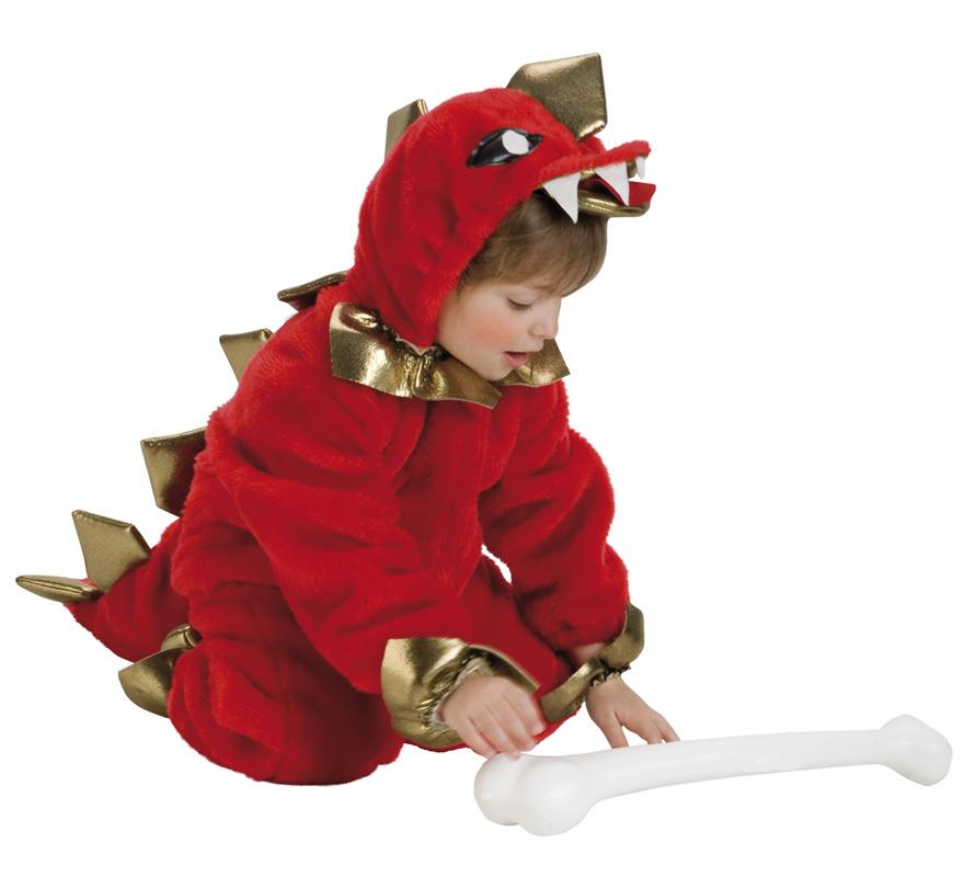 Disfraz de Dinosaurio para Bebés de 1 a 3 años. Incluye mono con cabeza y adornos de cuello y pies.