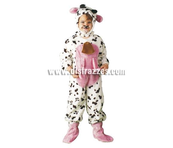 Disfraz de Vaca o Vaquita Dacha para niñas de 3 a 5 años. Incluye mono y capucha. Un disfraz muy calentito para no pasar frío en Carnaval.