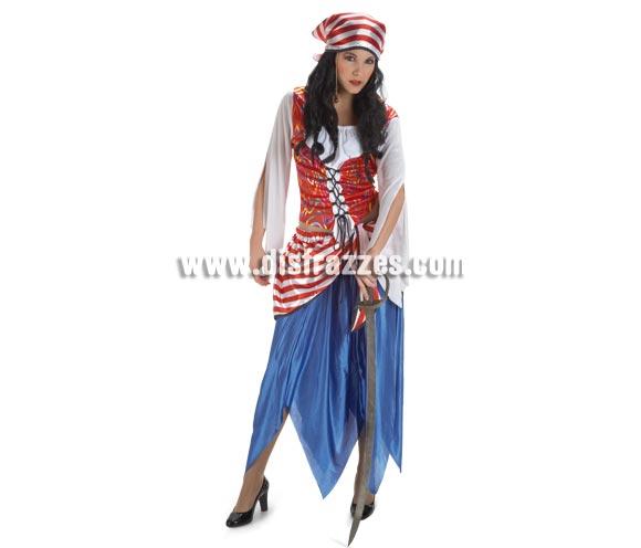 Disfraz de Pirata Bucanera para mujer. Talla Standar. Incluye falda con fajín, camisa y pañuelo.