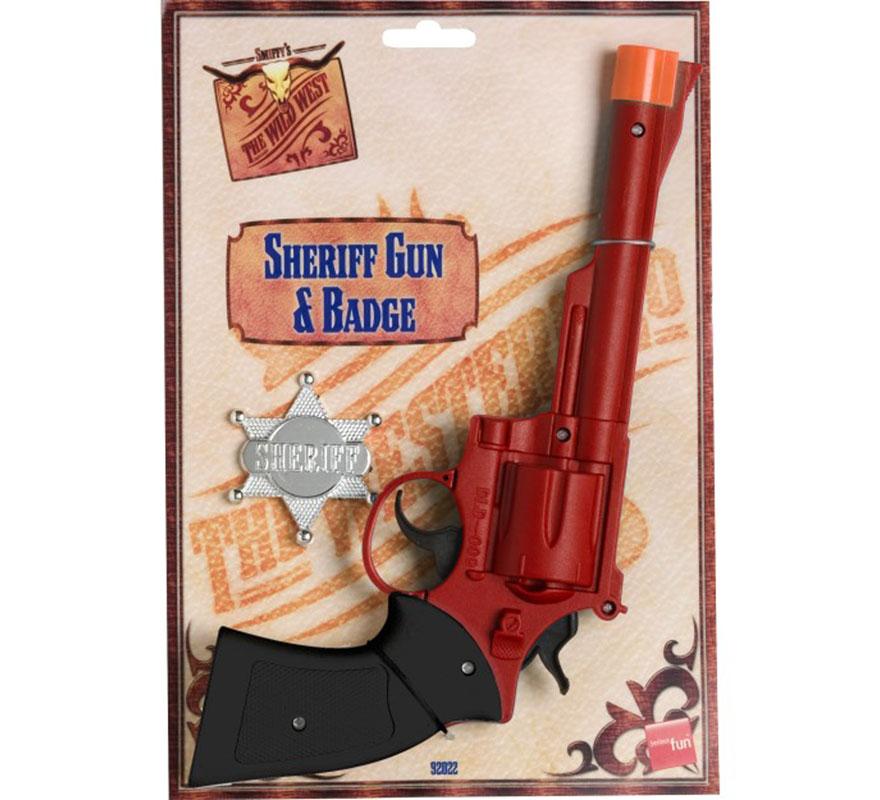 Revólver y Estrella de Sheriff. Complemento ideal para nuestros disfraces del Salvaje Oeste de Sheriff