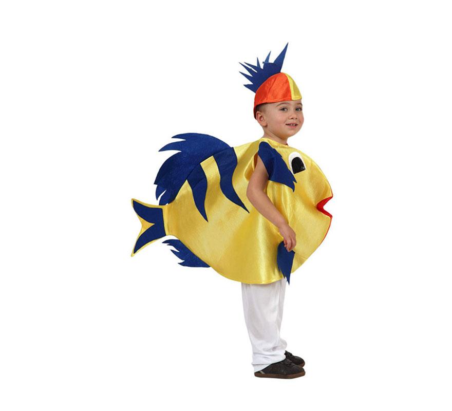 Disfraz de Pez infantil. Talla de 7 a 9 años. Incluye vestido y gorrito.