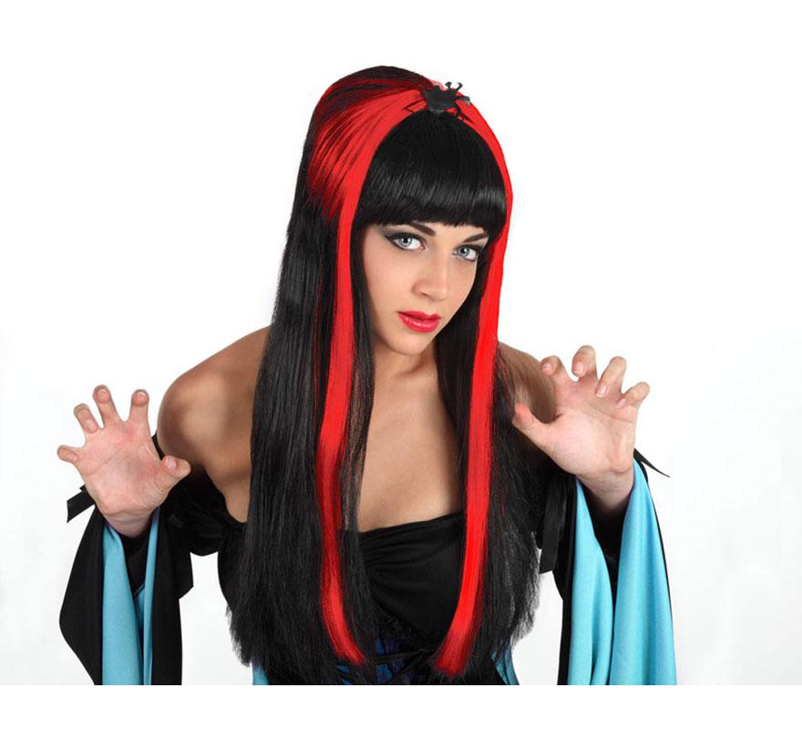 Peluca mujer araña negra y roja, larga y con flequillo. Talla universal. Perfecta para disfrazarse en Halloween.