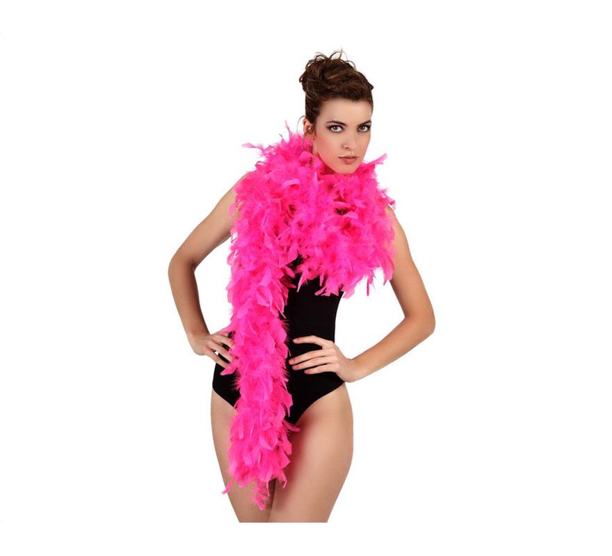 Boa fucsia de plumas de 45 gr. Ideal para tu disfraz de Charlestón o Cabaret. También para Despedidas de Soltera.