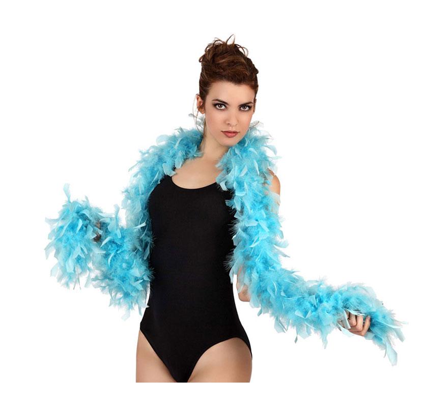 Boa azul de plumas de 45 gr. Ideal para tu disfraz de Charlestón o Caberet. También para Despedidas de Soltera.