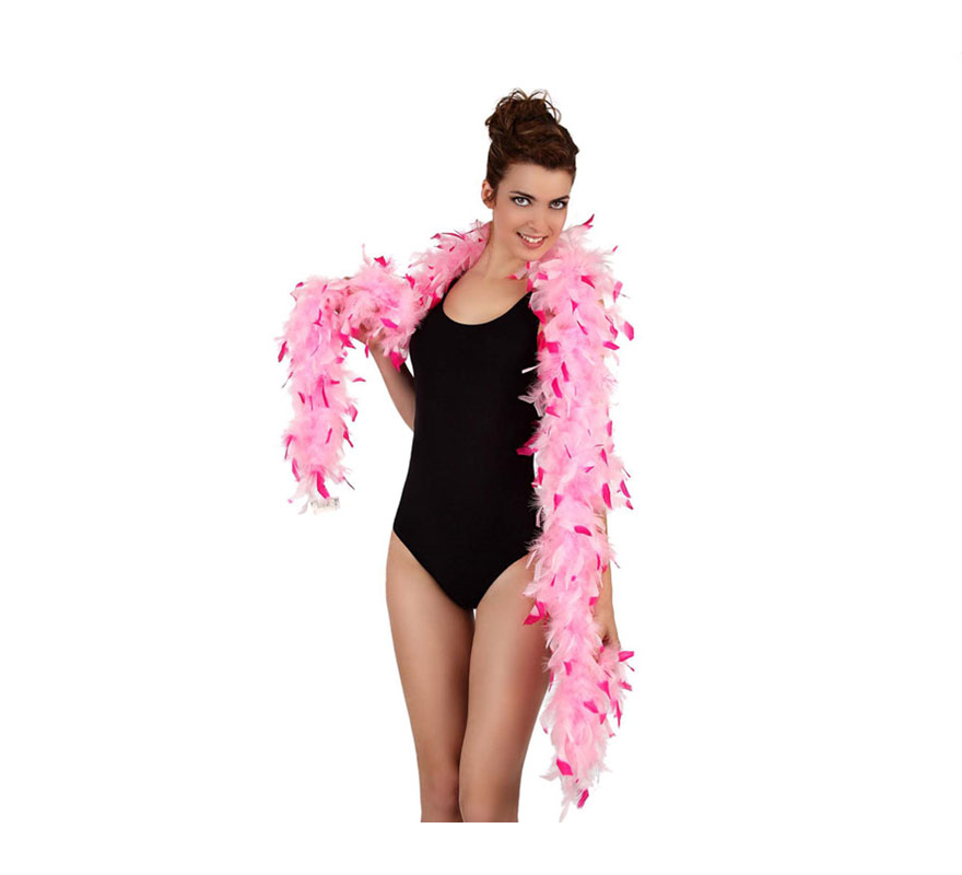 Boa bicolor rosa de plumas de 45 gr. Ideal para tu disfraz de Charlestón o Cabaret. También para Despedidas de Soltera.