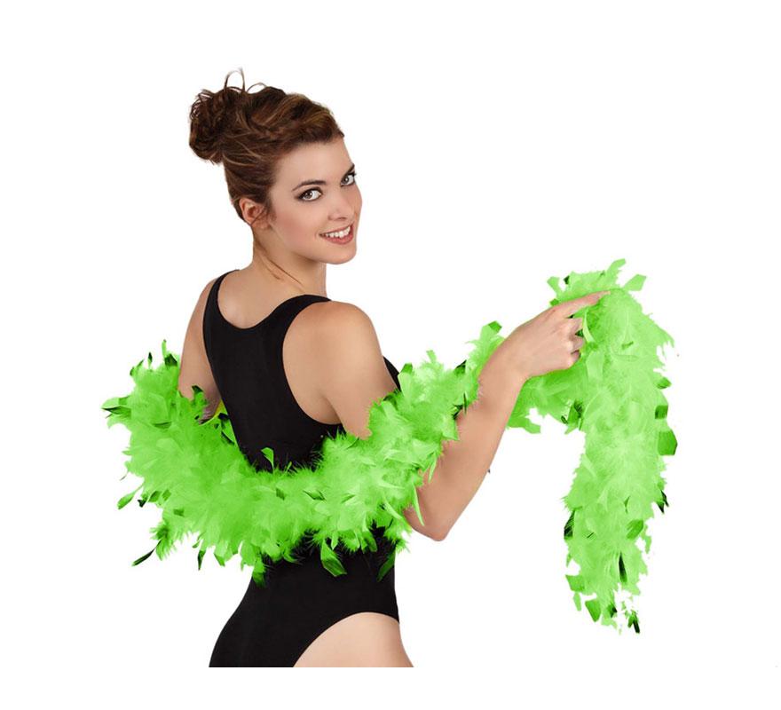 Boa bicolor verde de plumas de 45 gr. Ideal para tu disfraz de Charlestón o Cabaret. También para Despedidas de Soltera.