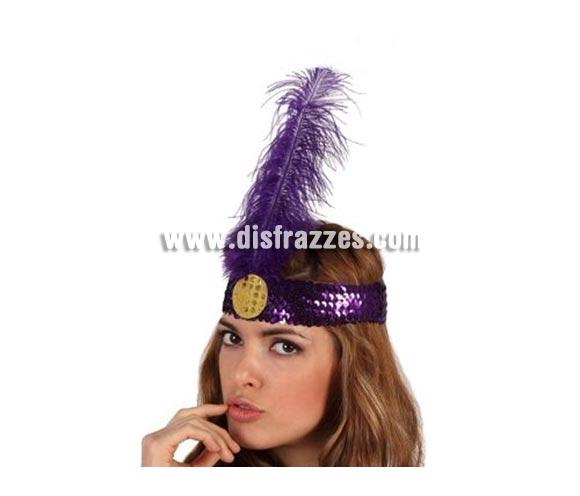 Cinta del pelo charlestón púrpura de lentejuelas con pluma.