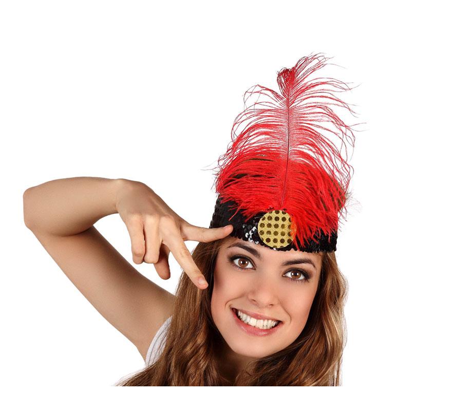 Cinta del pelo Charlestón de color rojo. También nos las piden mucho para Despedidas de Soltera, por llevar algún Complemento gracioso.