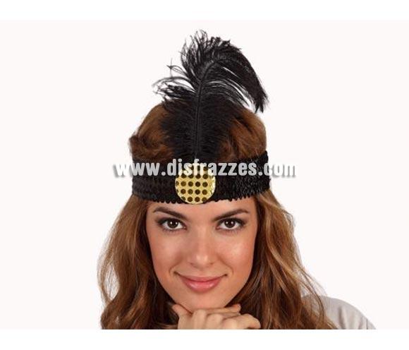 Cinta del pelo charlestón negra de lentejuelas con pluma. Se usa mucho en Despedidas de Soltera.