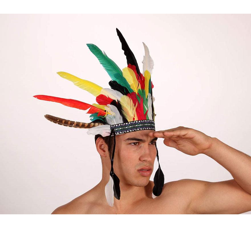 Penacho de Indio de plumas de colores.
