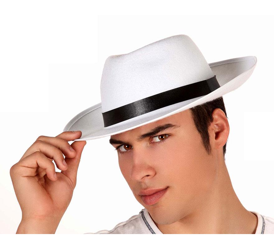 Sombrero Ganster blanco con cinta blanca. También podría valer para el disfraz de Michael Jackson.