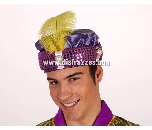 Sombrero de Paje morado con pluma amarilla. Turbante de Paje Real morado con pluma amarilla para Navidad. Ideal como complemento de tu traje de Paje Real en Navidad.
