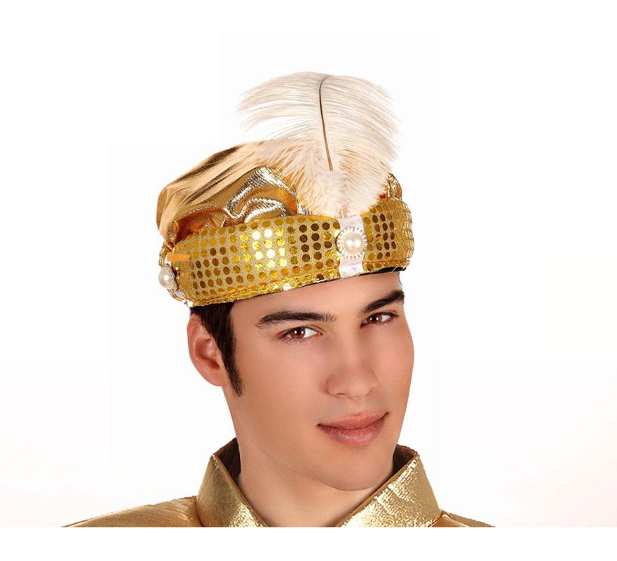 Sombrero de Paje dorado con pluma blanca. Turbante de Paje Real dorado con pluma blanca para Navidad. Ideal como complemento de tu traje de Paje Real en Navidad.