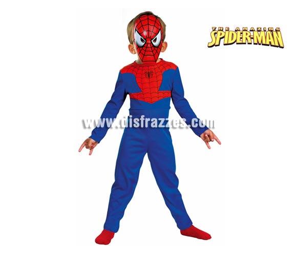 Disfraz de Spiderman infantil. Talla de 3 a 5 años. Incluye mono y careta. Un disfraz con licencia ideal para regalar en Navidad o Reyes Magos o en cualquier fecha del año.