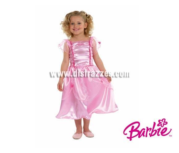 Disfraz de Barbie infantil. Talla de 3 a 5 años. Incluye vestido. Un disfraz con licencia ideal para regalar en Navidad, Reyes Magos y en cualquier fecha del año.