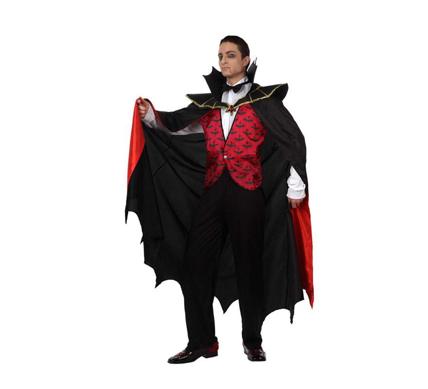 Disfraz de Vampiro rojo para hombre Talla Standar M-L 52/54. Incluye disfraz completo.