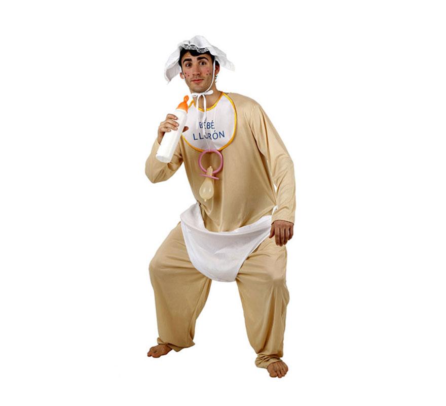 Disfraz barato de Bebé Glotón para hombre. Talla 2 ó talla Standar M-L 52/54. Incluye body con pañal, babero y gorro. Chupete y biberón NO incluidos, podrás verlos en la sección de Complementos