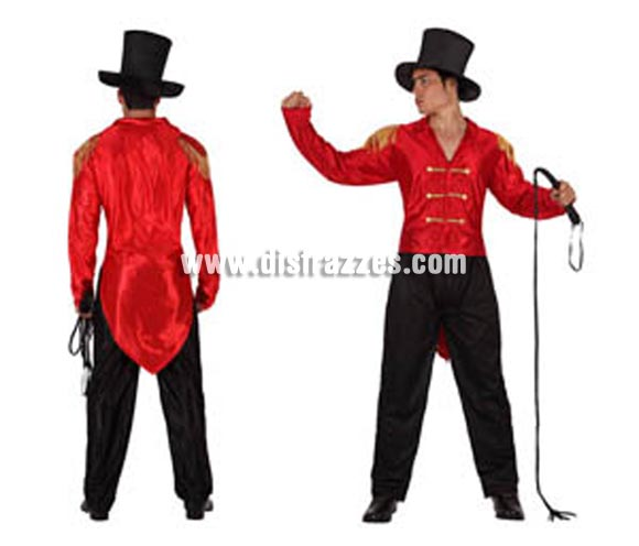 Disfraz de Domador de Circo para hombre. Talla 2 ó talla standar M-L 52/54. Incluye pantalón, camisa y sombrero. Látigo NO incluido, podrás encontrar en nuestra sección de Complementos.