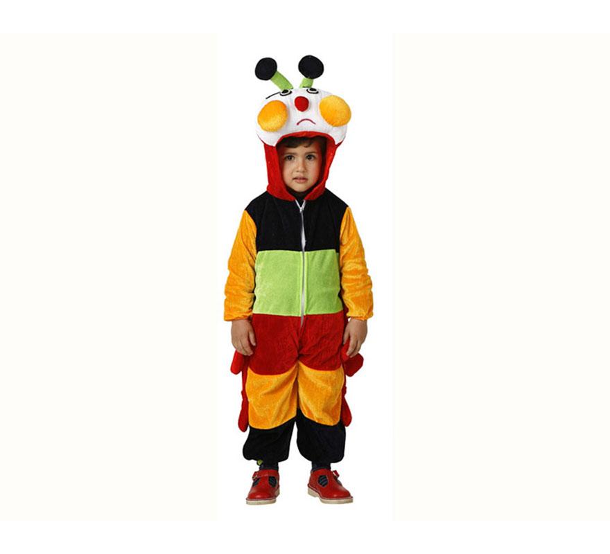Disfraz de Oruga multicolor para niños de 5 a 6 años. Incluye disfraz completo.