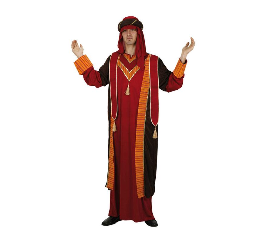 Disfraz barato de Jequé Árabe rojo para hombre. Talla 2 ó talla standard M-L 52/54. Incluye turbante y túnica. Disfraz de Moro o de Musulmán.