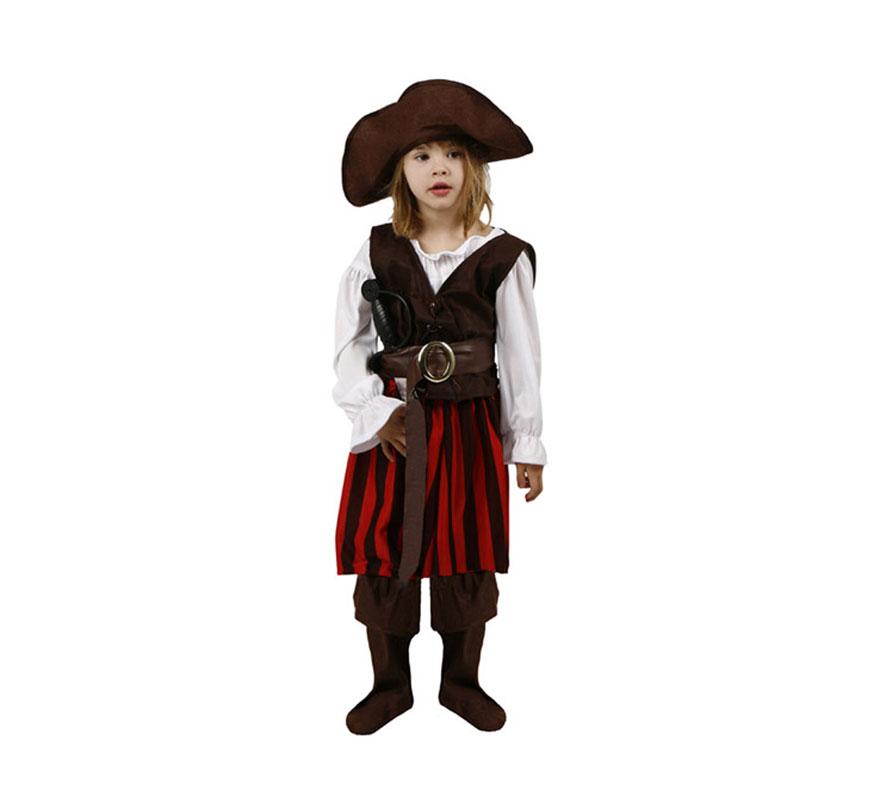 Disfraz de Pirata Rayas para niñas de 5 a 6 años. Incluye disfraz completo.
